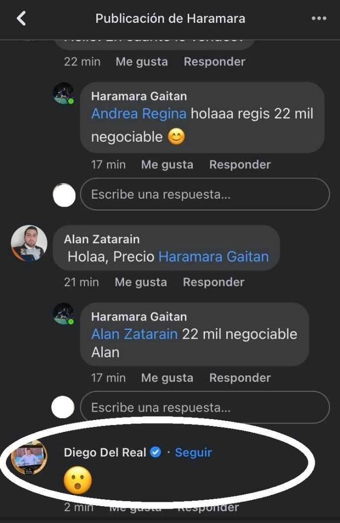 Comentarios a la venta del celular de Haramara Gaitán.