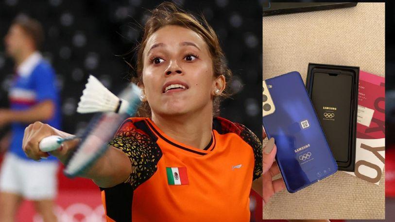 Haramara Gaitán, badmintonista por México en Tokio 2020 pone a la venta el Galaxy S21 que Samsung regaló a los atletas.